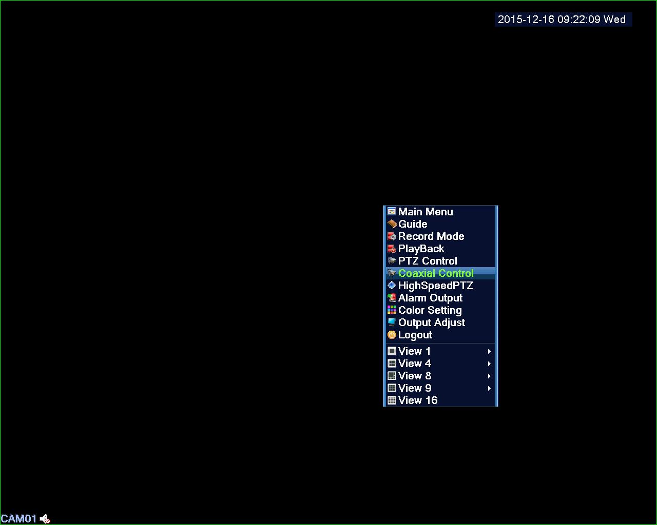 DVR UTC menu